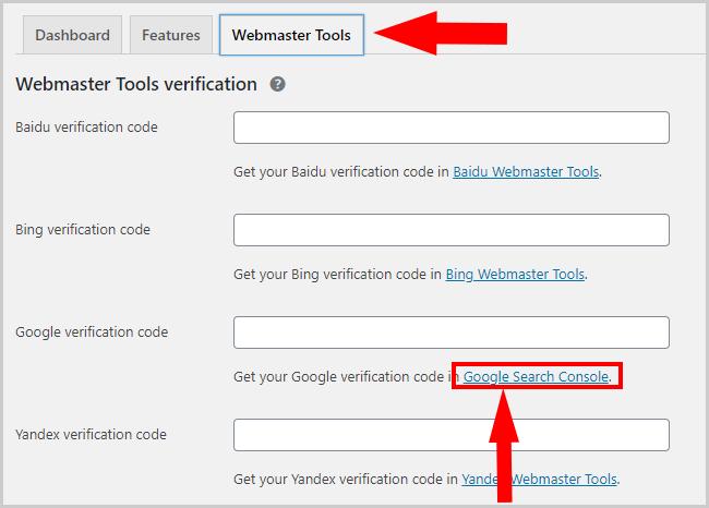 Webmaster tools configuration