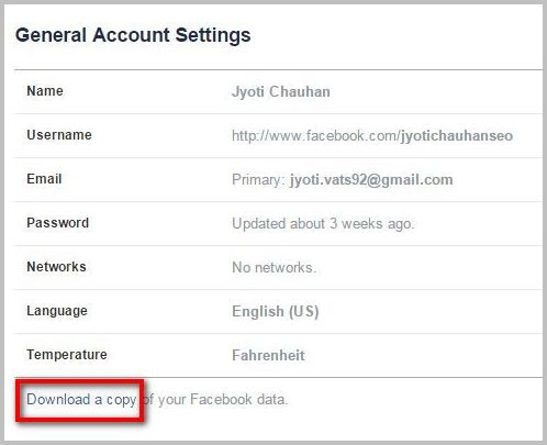 download a copy of facebook data