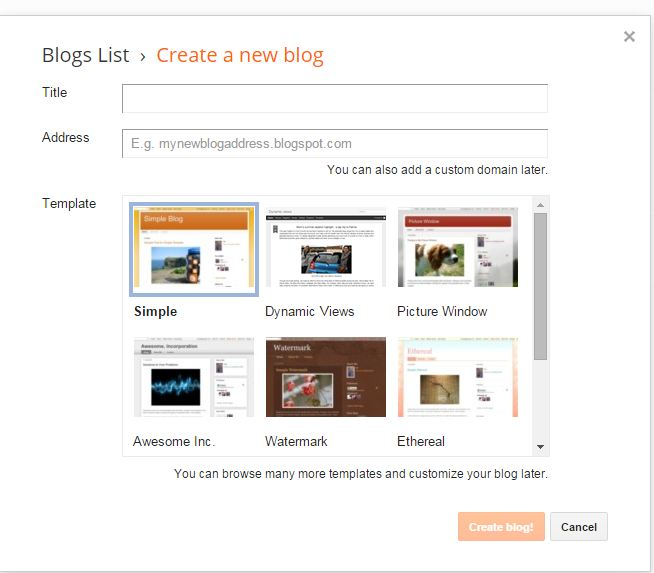 starting blog with blogspot