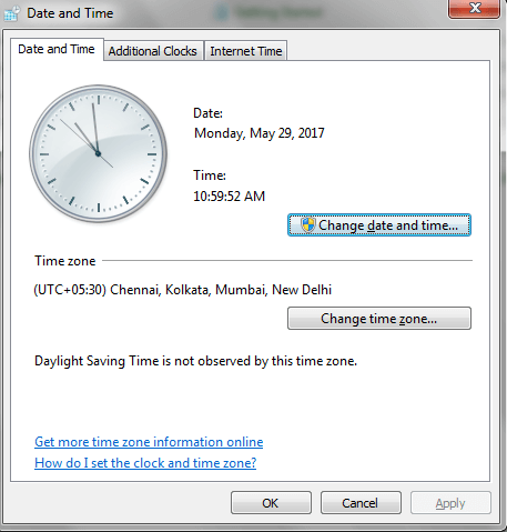 Date and Time window
