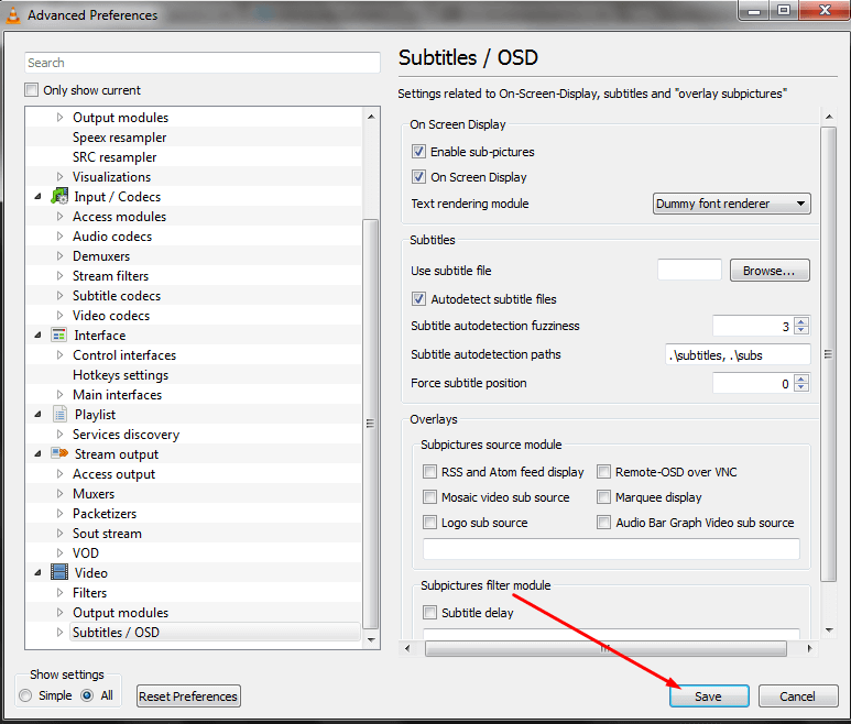 save subtitles OSD setting