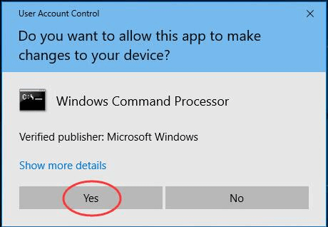 authorize windows command processor
