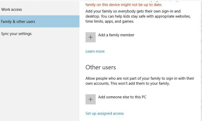 family other users settings