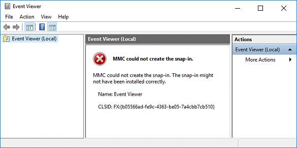 MMC snap-in error
