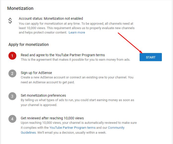 Read and agree to the YouTube Partner Program terms