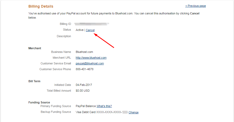 cancel recurring payment paypal