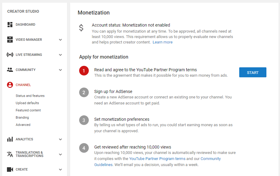 channel monetization status