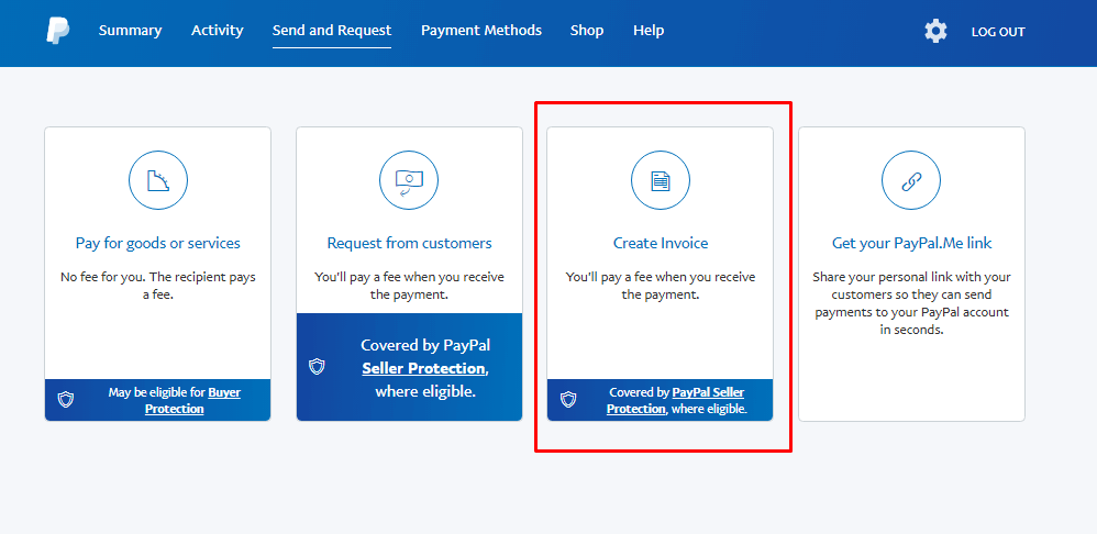 create invoice paypal
