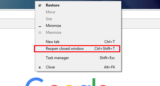 reopen closed window chrome