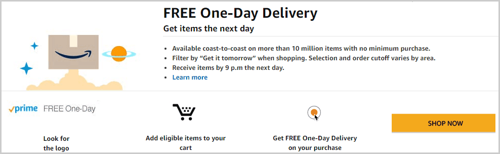 Amazon Prime Free One Day Delivery