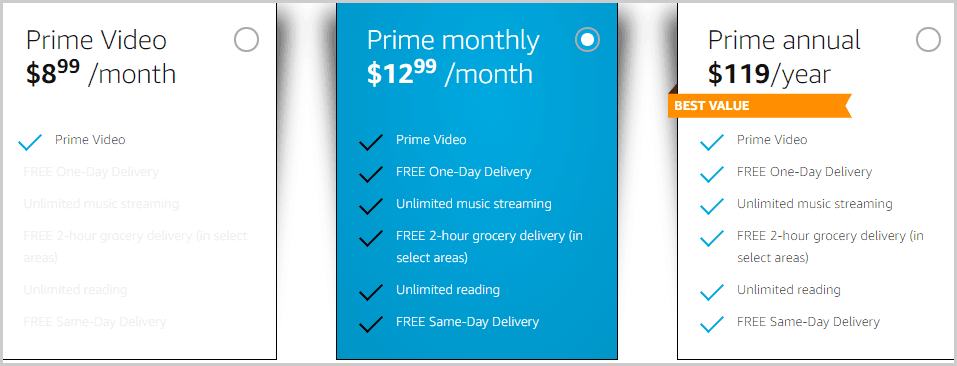 Amazon Prime Pricing