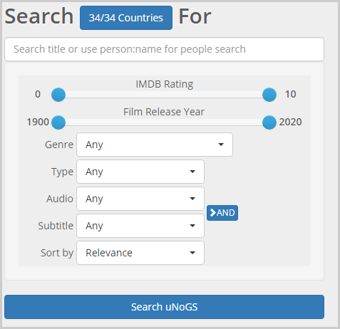 unogs search panel
