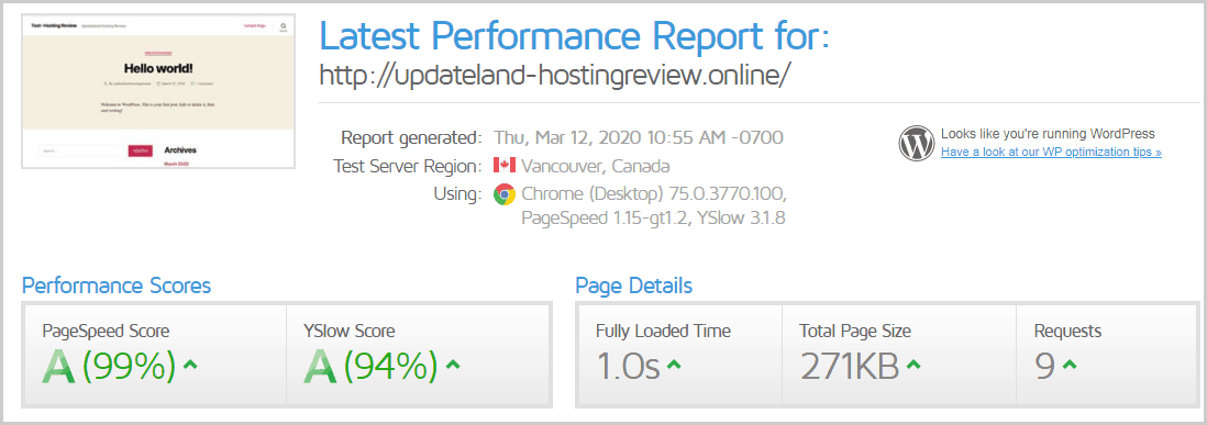 GTMetrix Test Result