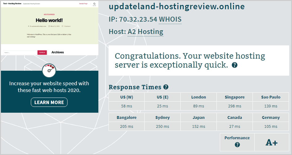 Server Response Time Test result with Bitcatcha
