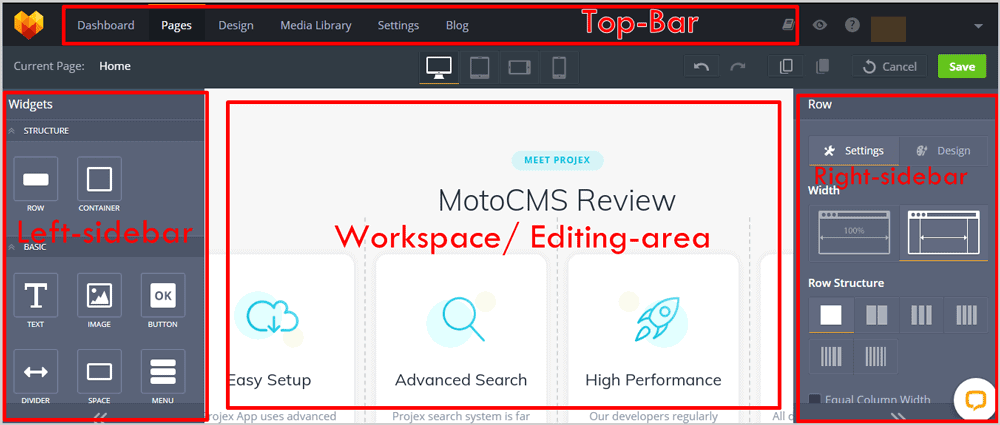MotoCMS User Interface