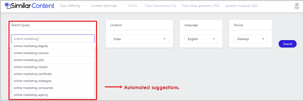SimilarContent User Interface
