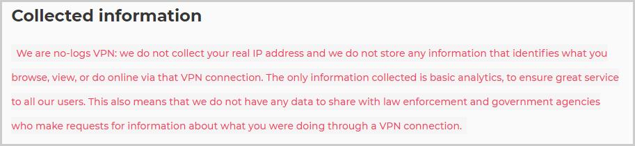 Atlas VPN No logs policy