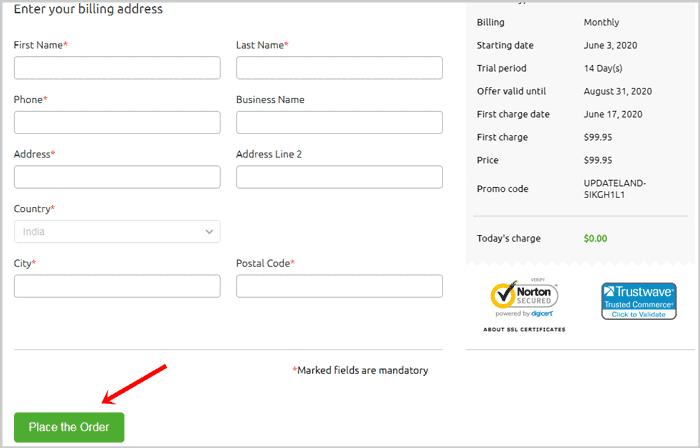 Enter personal details for SEMRush account