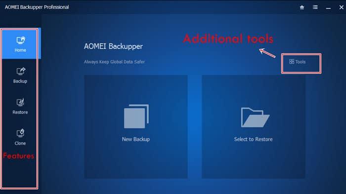 AOMEI Backupper user interface