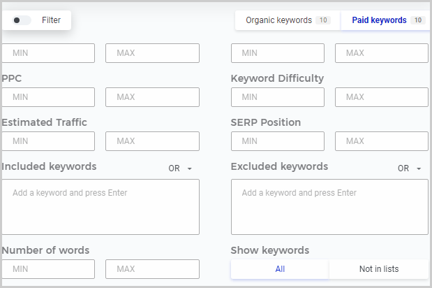 KWFinder advanced search filters