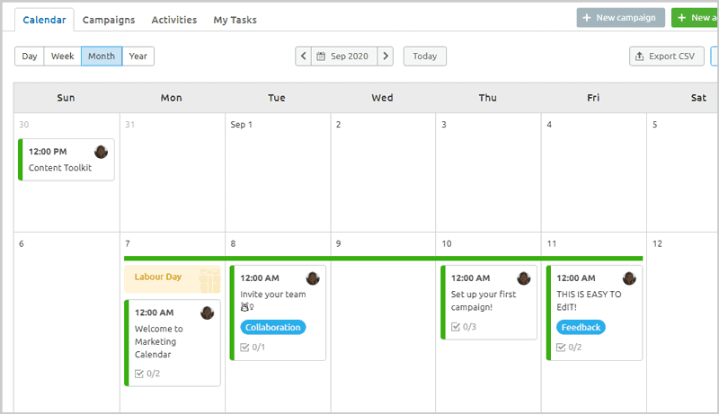 SEMrush Marketing Calendar