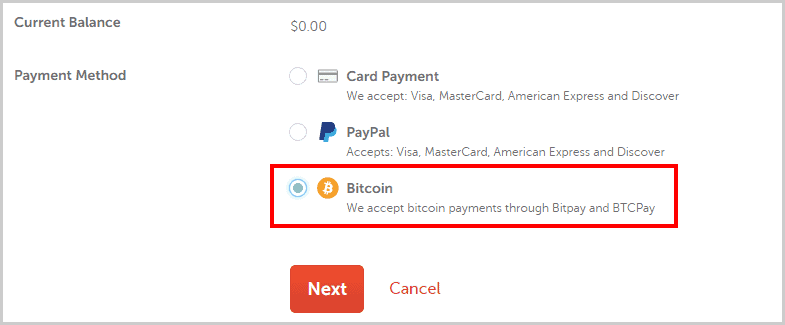 Add bitcoins to Namecheap account