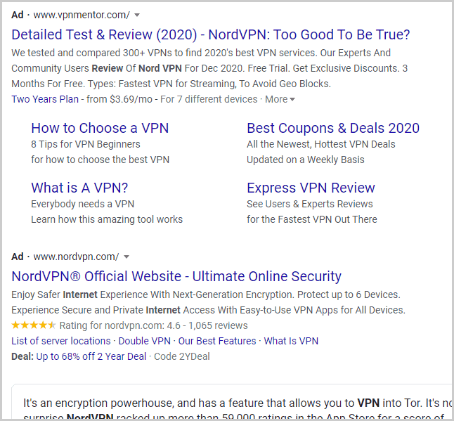 Google Results With VPN