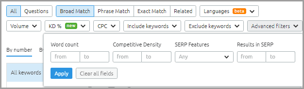 Semrsuh exclusive filters for keyword ideas