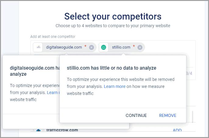 no data to analyze similarweb error
