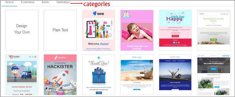 Engagebay template categories