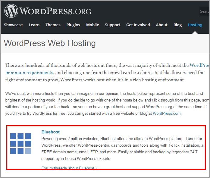 Bluehosting WordPress hosting recommendation