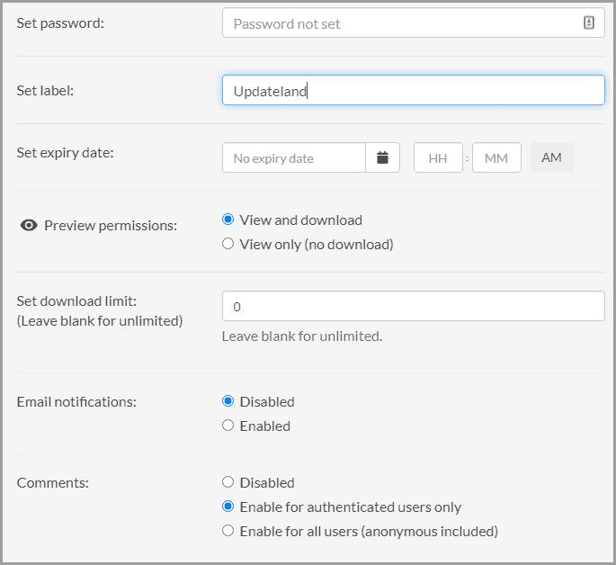 Sync advanced sharing options