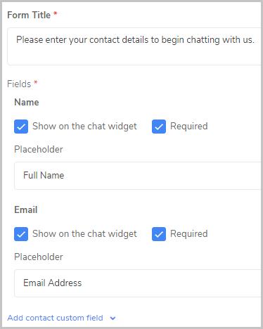 EngageBay chat custom fields