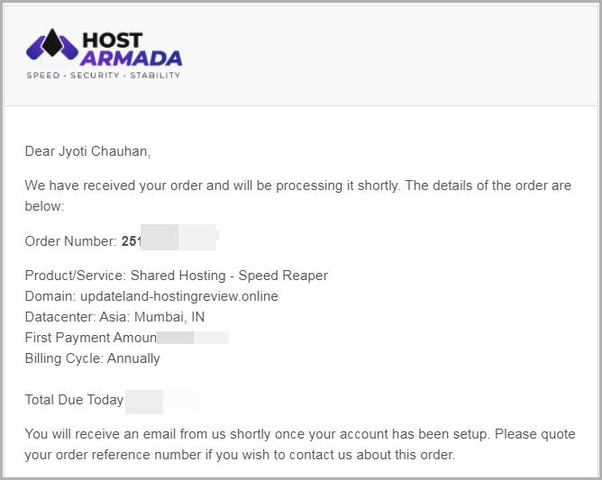 HostArmada order invoice