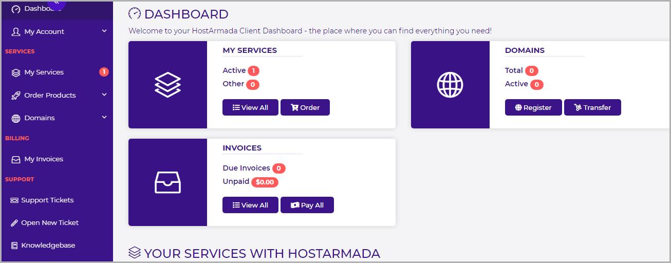 HostArmada User Interface