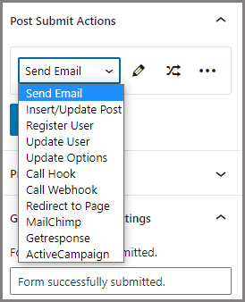 available post-submit actions