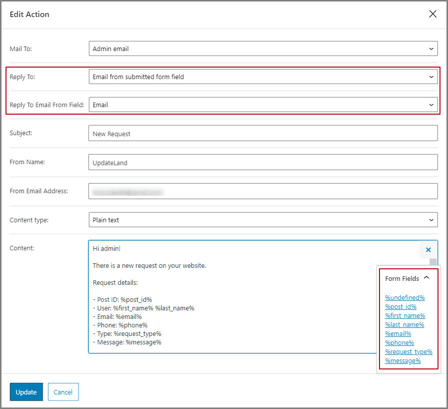 send email post-submit action settings