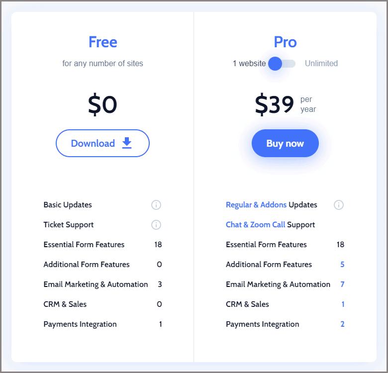 jetformbuilder pricing plans