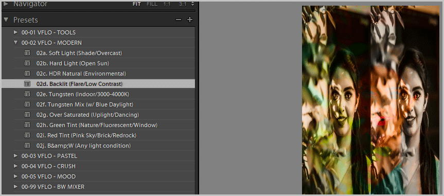 visual flow presets preset names
