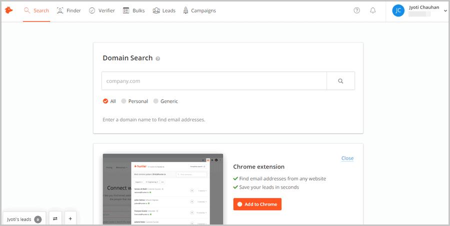 Hunter.io user interface